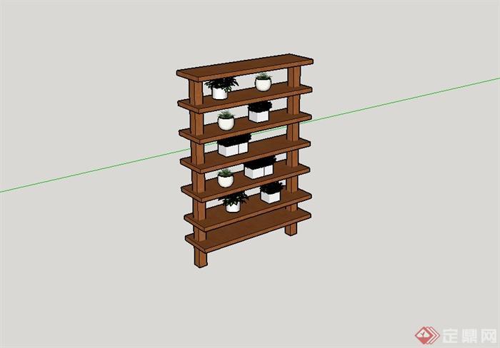 某现代风格室内置物花架设计su模型