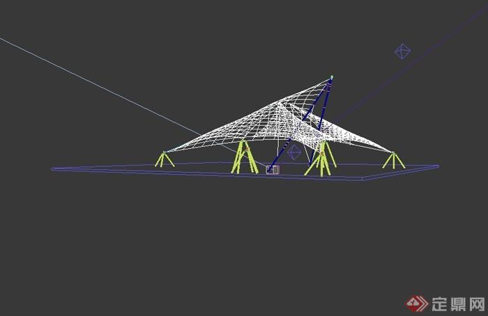 现代风格详细张拉膜雨棚设计3d模型[原创]