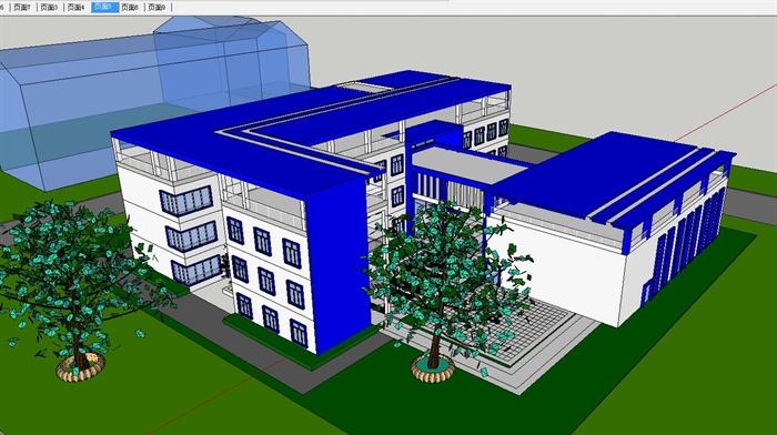 某大学生活动中心建筑设计CAD方案及su平面模型棋盘布置图室cad图片