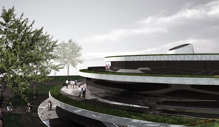 现代风格详细的圆形食堂建筑设计su模型[原创]