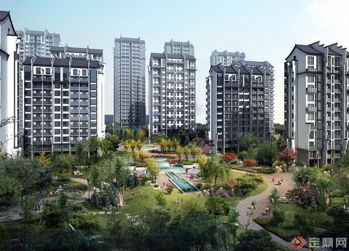 现代中式高层住宅楼设计jpg效果图[原创]图片