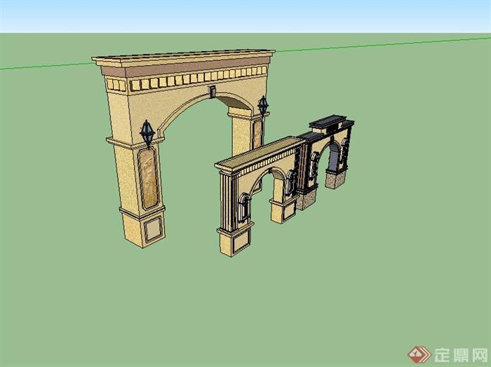欧式风格详细的三种大门设计su模型[原创]