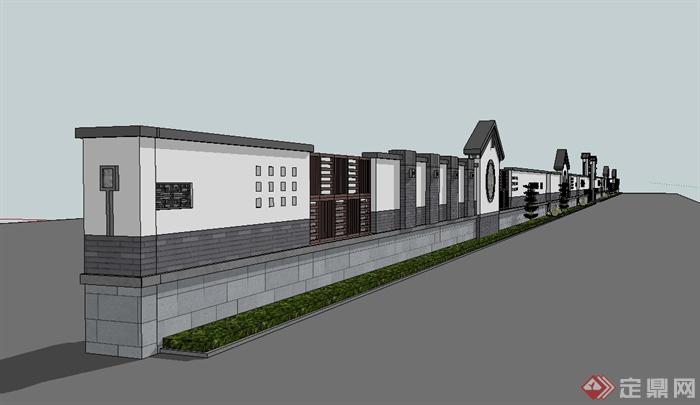 现代中式风格详细完整的景墙围墙设计su模型[原创]图片