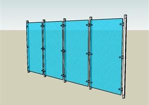 某现代风格详细的玻璃墙设计SU(草图大师)模型
