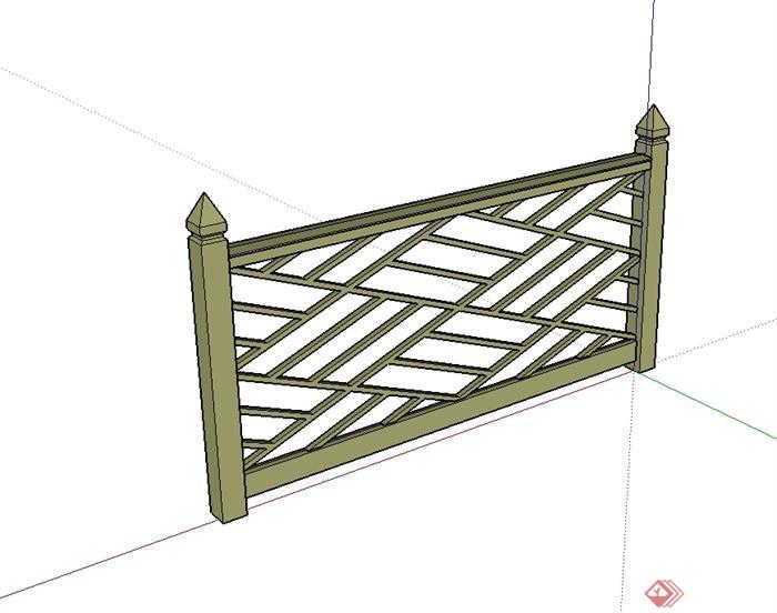 现代中式风格详细的防腐木栏杆设计su模型[原创]图片
