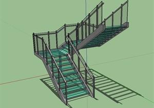 现代风格详细独特完整的建筑楼梯设计SU(草图大师)模型
