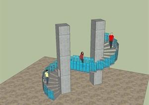 现代风格独特造型的旋转建筑楼梯设计SU(草图大师)模型