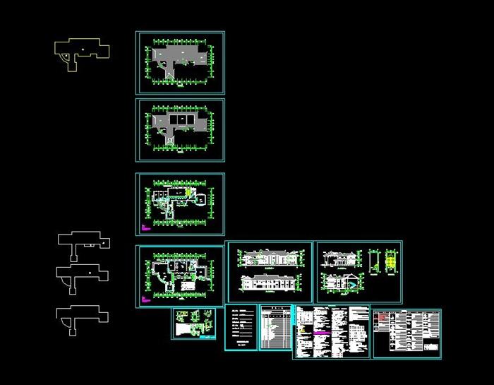 现代中式楼房服务中心建筑cad施工图[原创]游客二层cad图图片