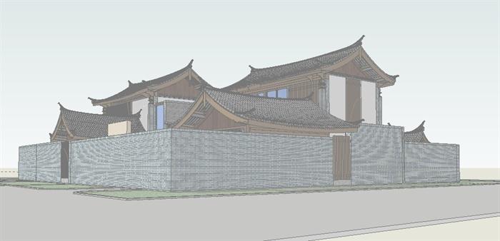 新中式双拼别墅方案su模型[原创]
