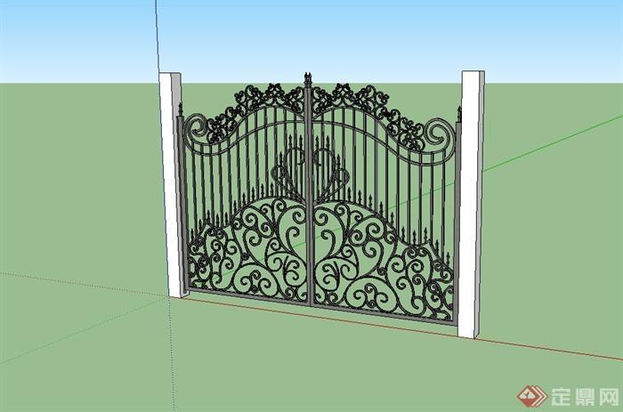 欧式风格详细的铁门设计su模型[原创]