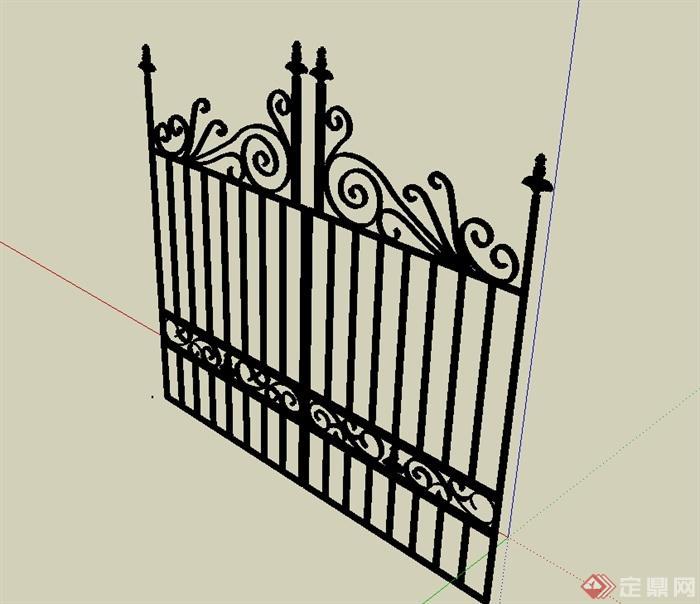 欧式风格详细完整的铁艺大门设计su模型[原创]