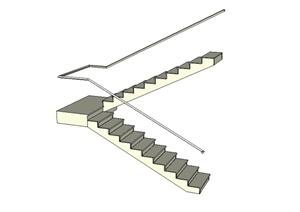 现代风格详细的两层楼梯SU(草图大师)模型