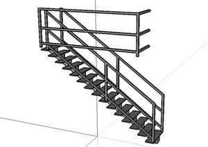 现代风格详细室内铁艺楼梯设计SU(草图大师)模型