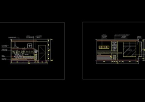 现代风格餐厅区装饰墙及酒架造型CAD立面图