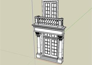 某欧式风格别墅建筑大门设计SU(草图大师)模型