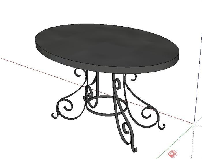 欧式风格详细的椭圆形桌子设计su模型[原创]