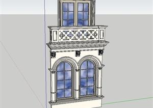 欧式风格详细建筑窗子设计SU(草图大师)模型