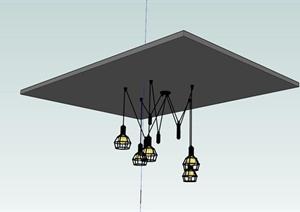 简约室内吊灯设计SU(草图大师)模型