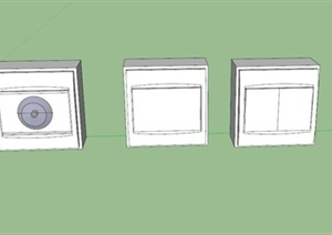室内多个开关设计SU(草图大师)模型