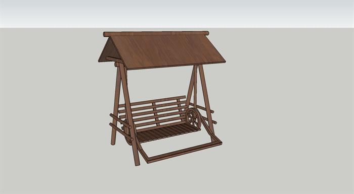 现代中式风格木质秋千设计su模型