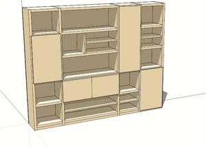 木质书柜设计SU(草图大师)模型