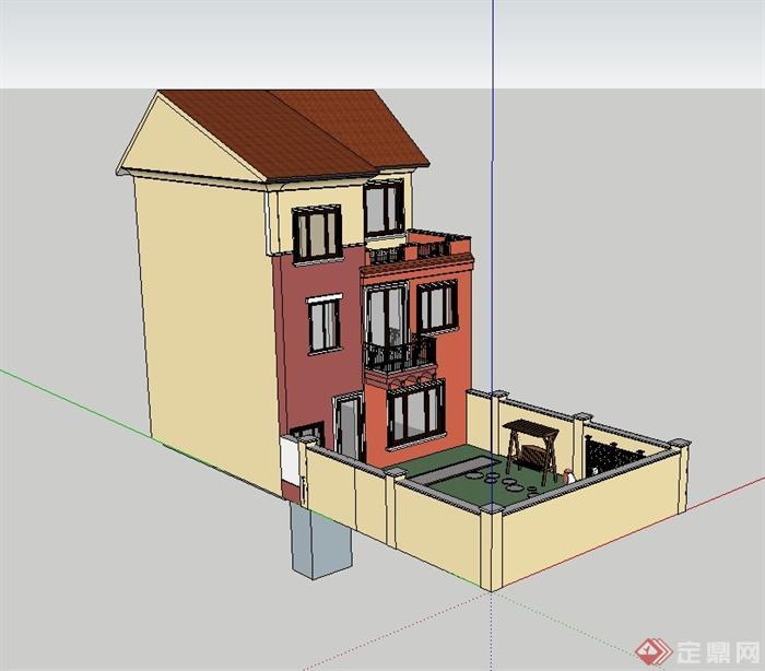 某欧式风格别墅庭院方案su模型以及pdf方案[原创]