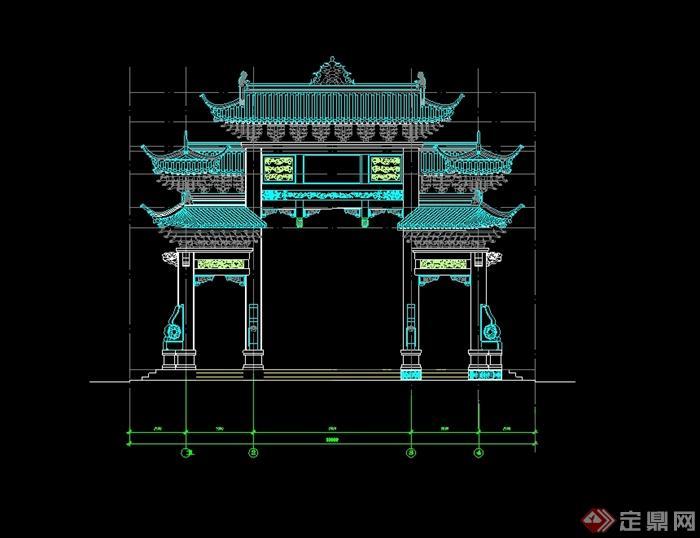 古典中式风格公园牌坊设计cad方案