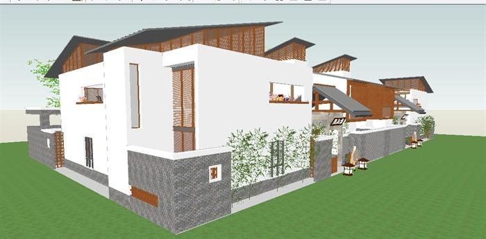 新中式合院别墅组团SU模型