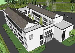 新中式综合办公楼建筑SU(草图大师)模型