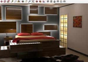 现代豪华卧室方案SU(草图大师)模型