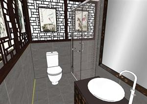 新中式卫生间装潢方案设计SU(草图大师)模型