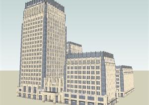 西安恒达详细办公建筑楼SU(草图大师)模型