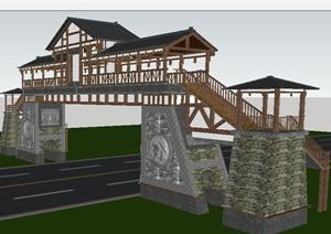 古典中式景区人行天桥设计SU(草图大师)模型