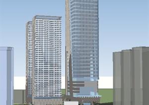 现代商业写字楼及住宅SU(草图大师)模型