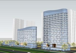 现代高低塔商业综办公合体方案SU(草图大师)模型