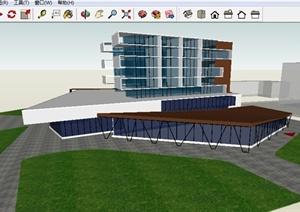 现代酒店建筑方案SU(草图大师)模型
