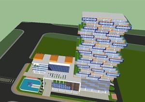 积木式高层办公大厦SU(草图大师)模型