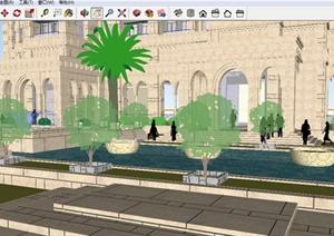 欧式住宅建筑及楼前景观方案SU(草图大师)模型