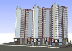 现代商住大厦方案设计SU(草图大师)模型