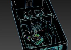 两个不同的教室室内设计3d模型