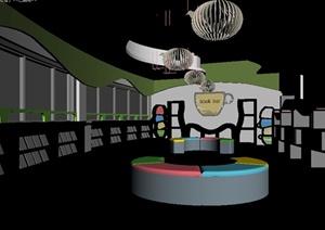 现代风格详细室内图书室设计3d模型