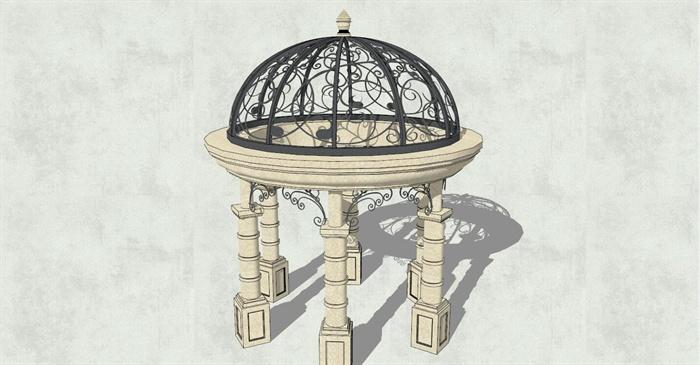 圆形欧式亭子详细设计su模型