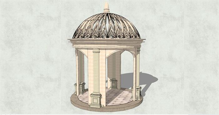 欧式风格圆形亭子su模型