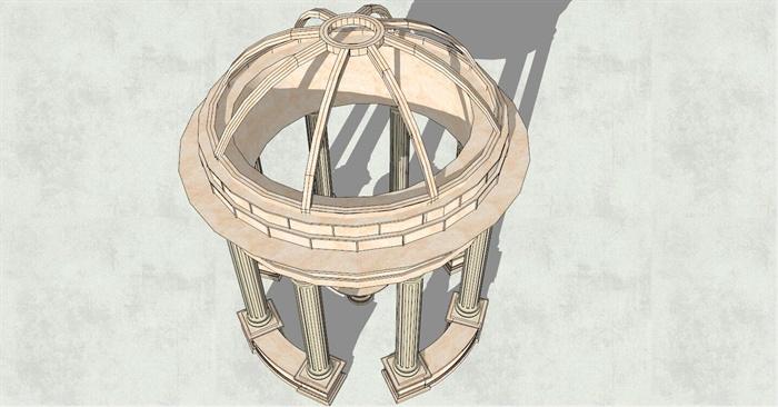 精美欧式风格圆形亭子su模型