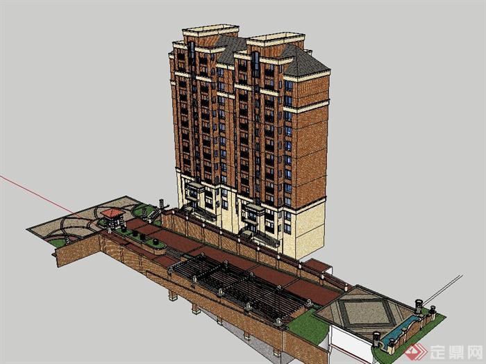 欧式小区小高层住宅楼及入口大门设计su模型[原创]