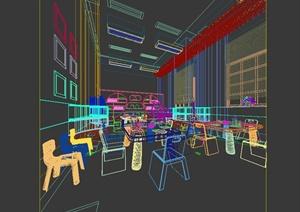 现代风格详细的特色幼儿园教室设计3d模型