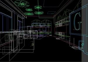 某现代风格图书馆室内设计3d模型