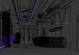 某培训教育空间接待处设计3d模型