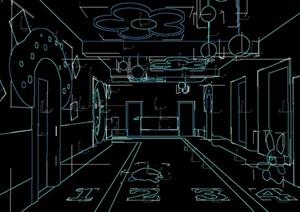 某现代风格幼儿园走廊过道设计3d模型