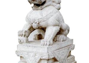 某现代风格详细的石狮子设计3d模型
